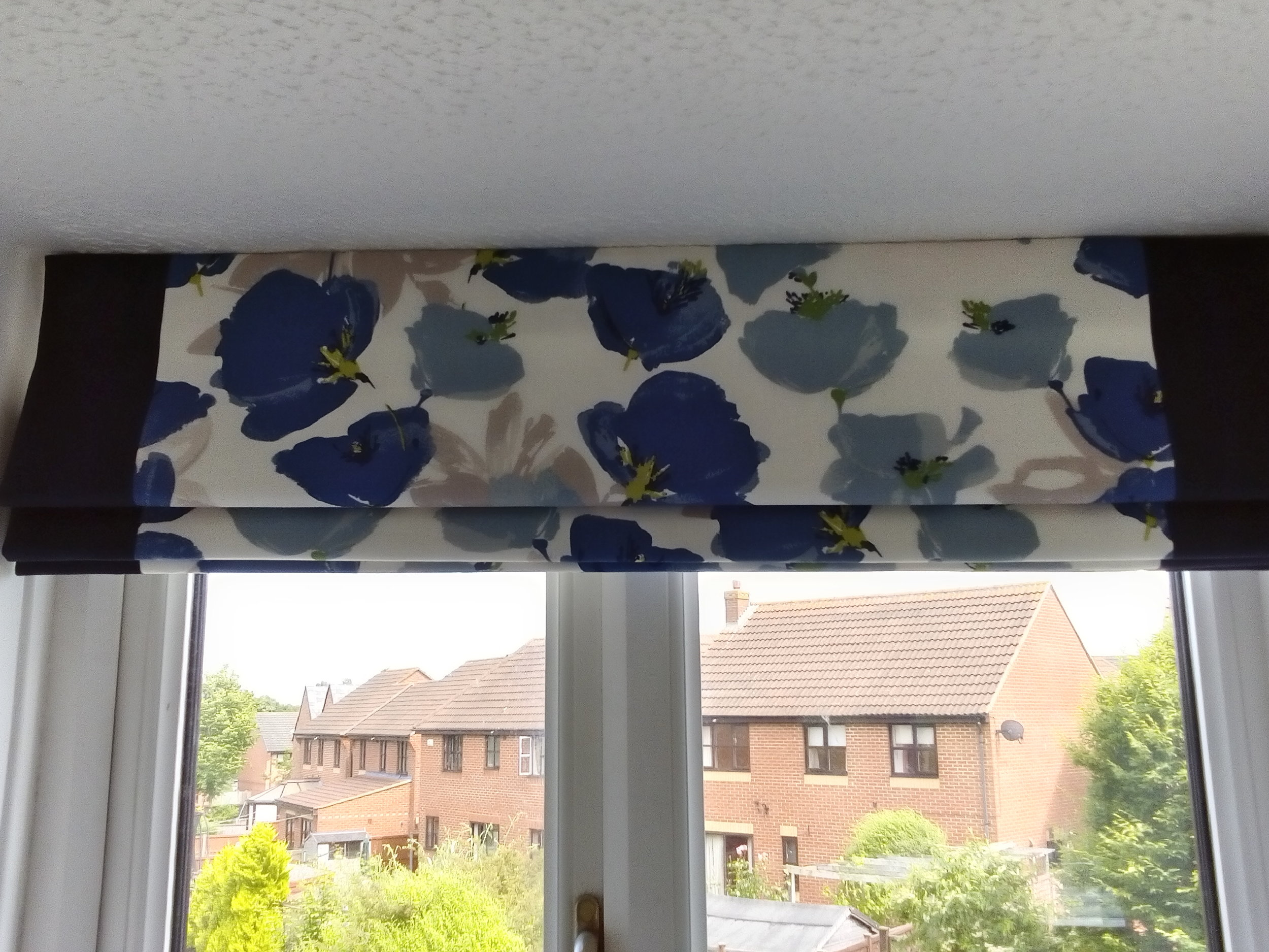 blue and cream floral roman blinds