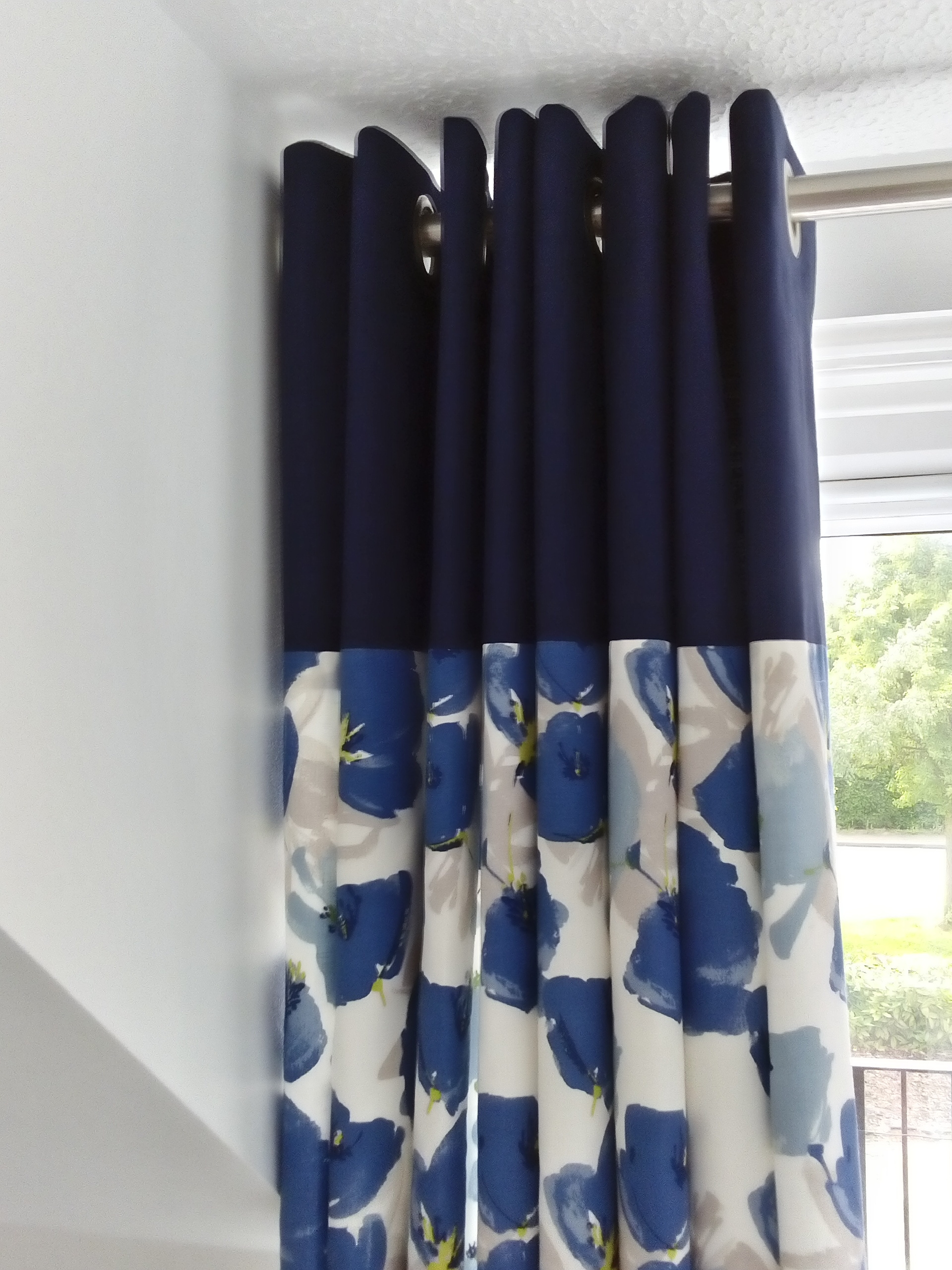 Beautiful blue and cream floral curtains