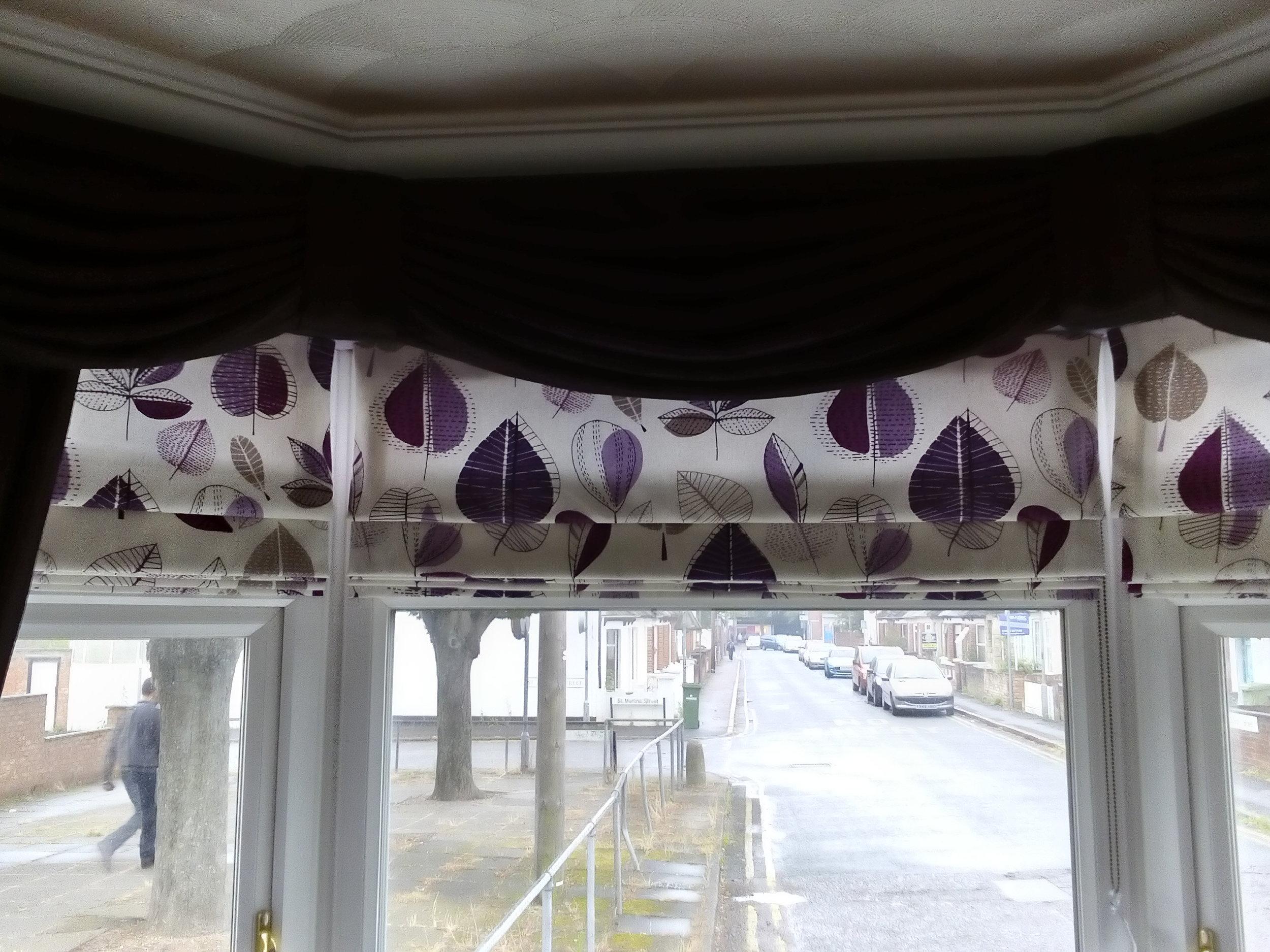 purple leaf design curtains