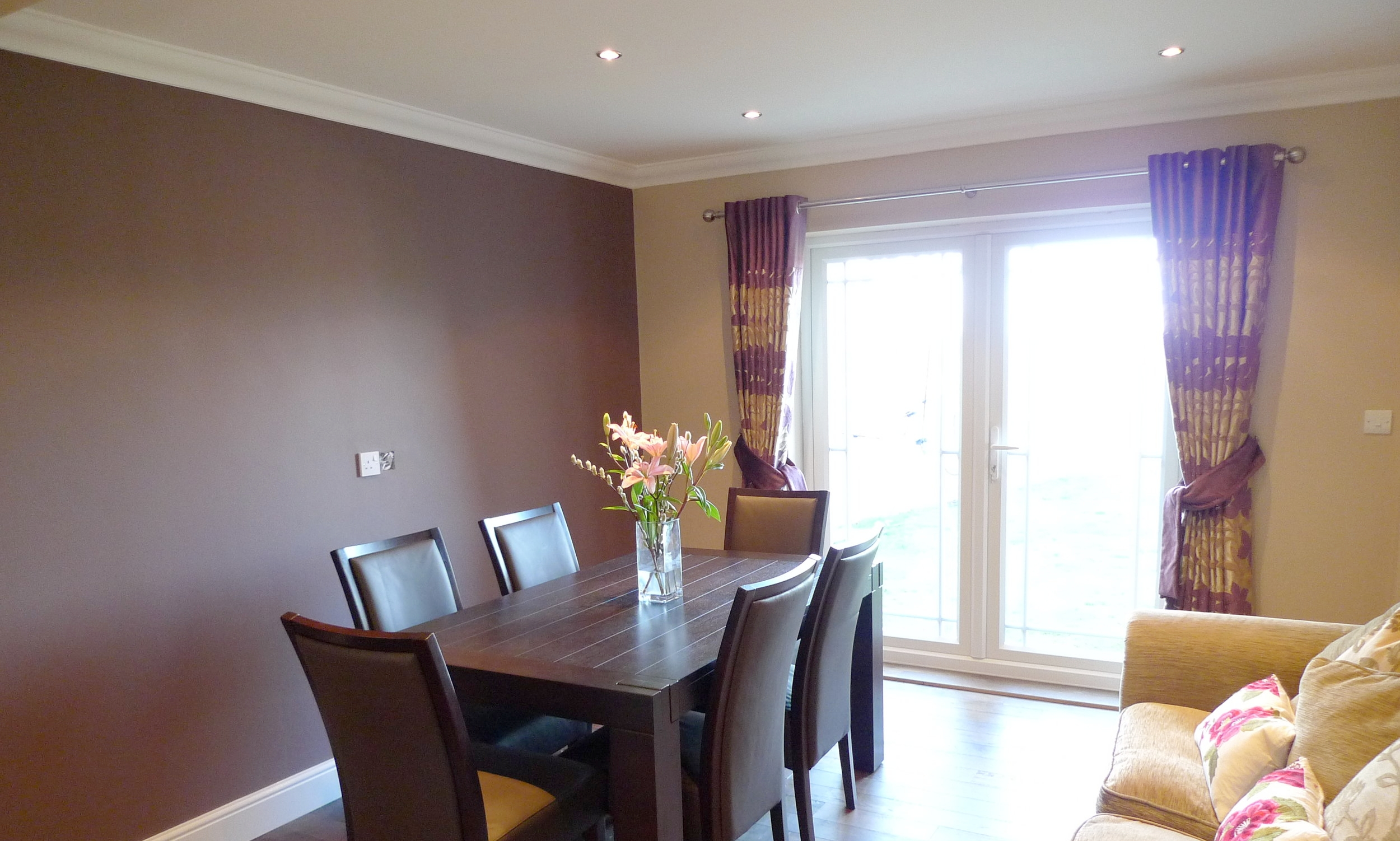 purple stripe curtains for dining room