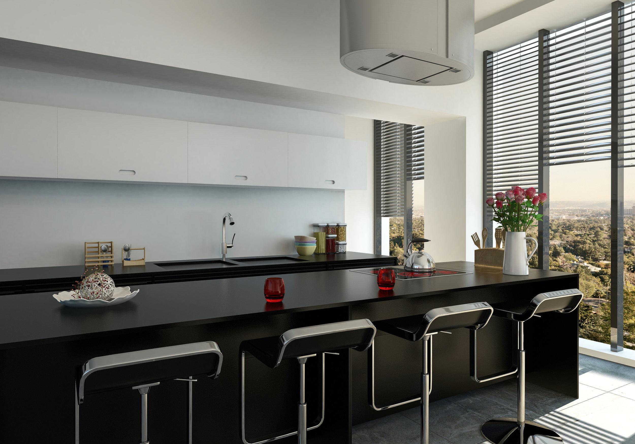 Stylish modern black bar counter in a kitchen