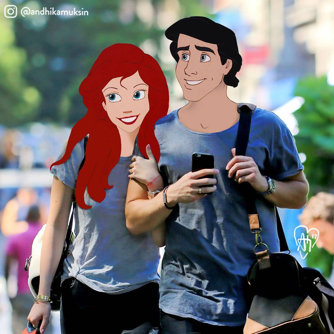 Andhika Muksin 's art superimposes Disney characters onto famous people's instagrams.