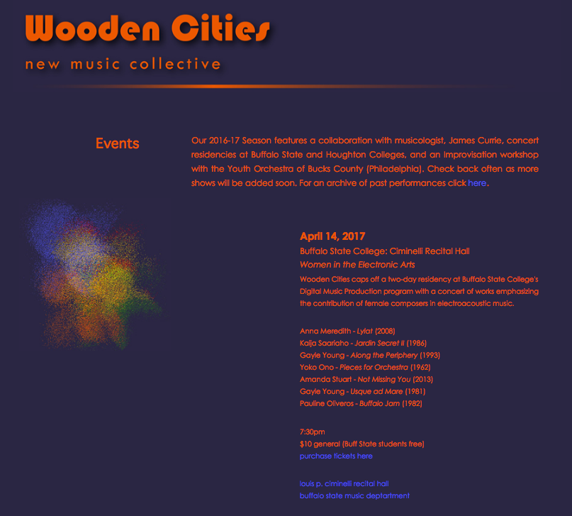 WOODEN CITIES perform NOT MISSING YOU - Climinelli Recital Hall, Buffalo State College, New York, April 14 2017,With works byKaija Saariaho, Pauline Oliveros, Yoko Ono, Anna Meredith, and Gayle Young.