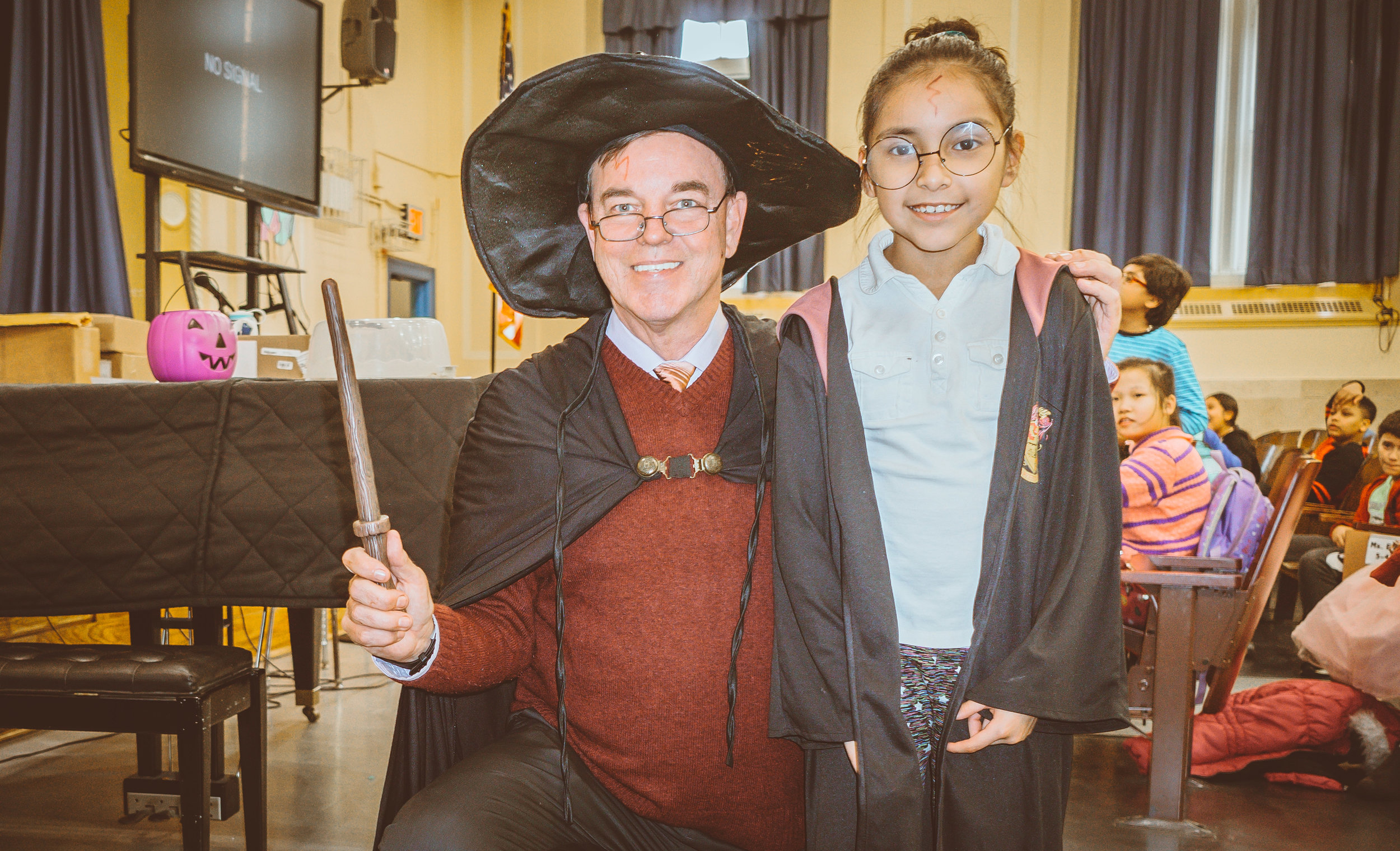 The upper grade teachers and students joined in the fun. J.K. Rowling would be proud.