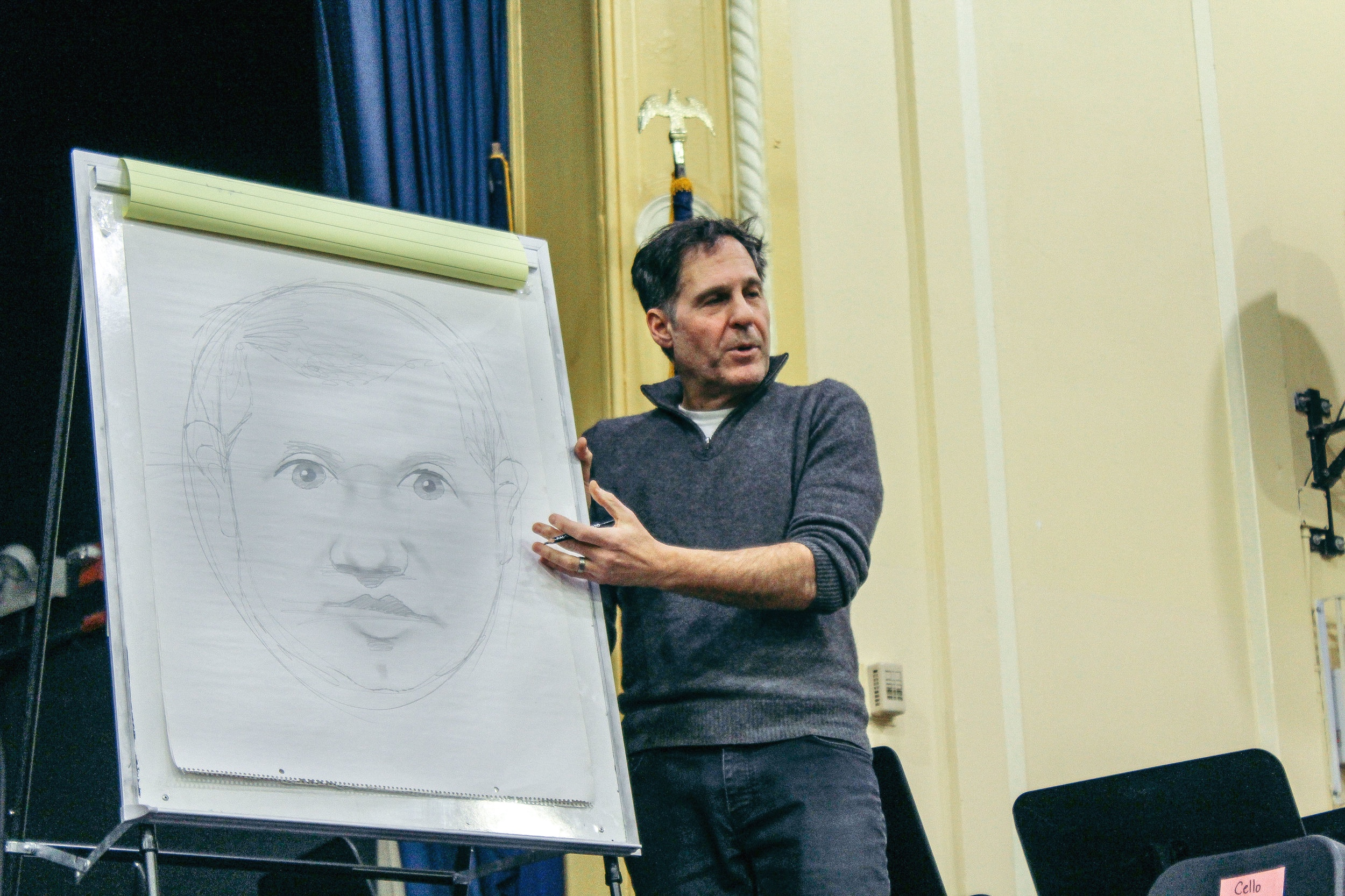 Author Peter Catalanotto showed students different drawing techniques to help students improve their illustrations.