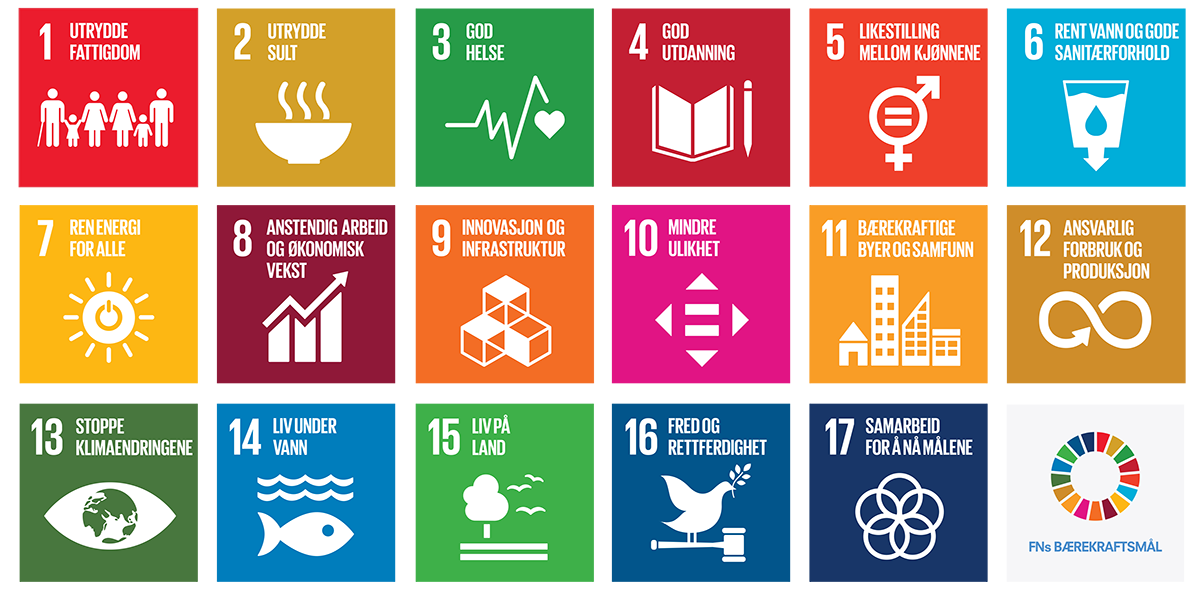 FNs 17 Bærekraftsmål. - TENKs bedrifter bruker ulike bærekraftsmål som en del av begrunnelsesgrunnlaget når avgjørelser blir tatt både for drift og visjoner.Høsten 2015 vedtok FNs medlemsland 17 mål for bærekraftig utvikling frem mot 2030. Bærekraftsmålene ser miljø, økonomi og sosial utvikling i sammenheng. De gjelder for alle land og er et veikart for den globale innsatsen for en bærekraftig utvikling.