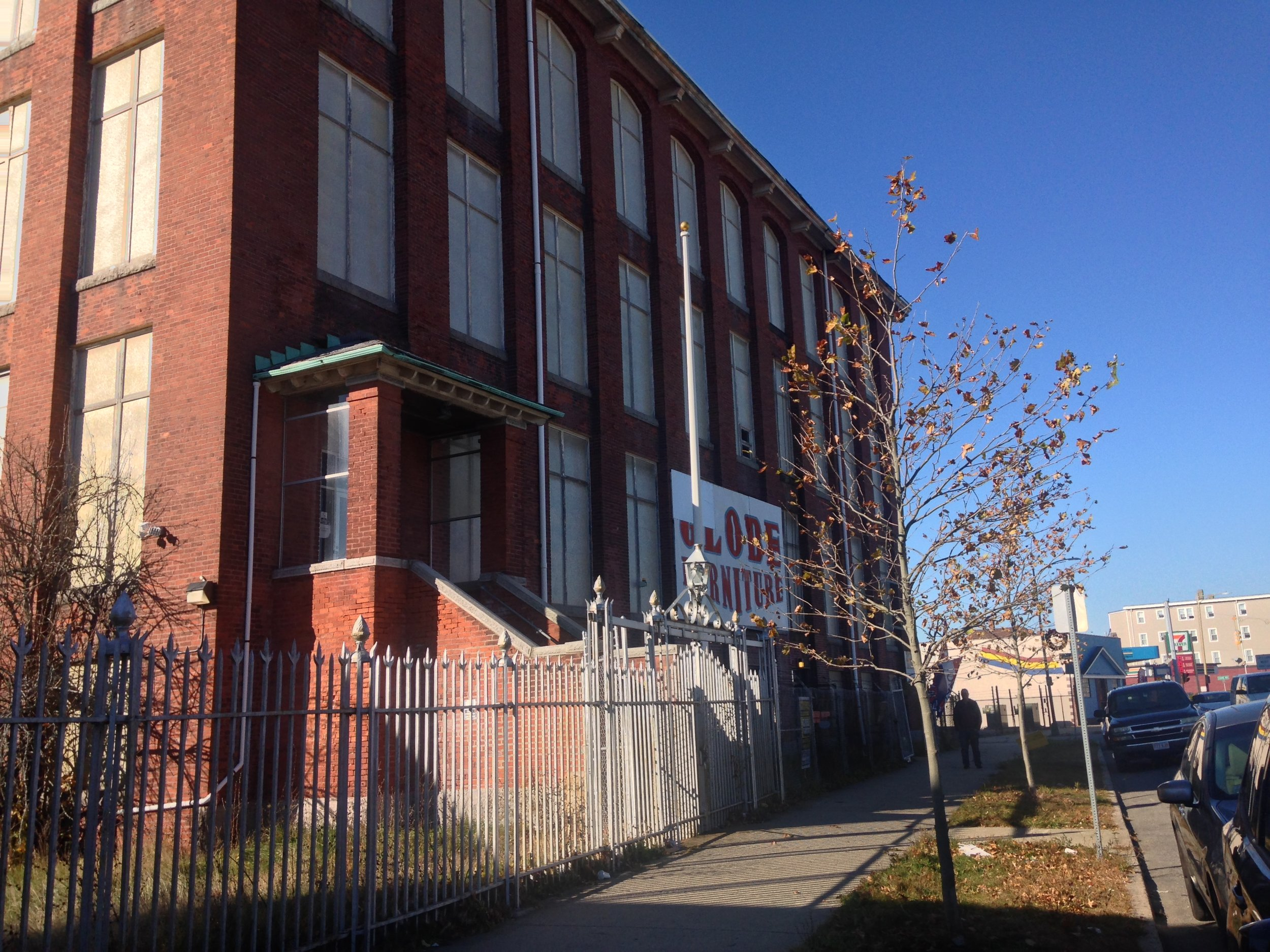 Side view of the former Michael Bianco, Inc Factory. New Bedford, MA. Photo by Virginia Lora.