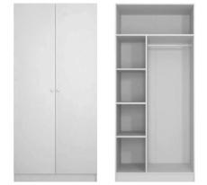 <b>Sigdal hvit VARIO 100cm</b><br>Håndtak hvit plast knott. Det leveres 1 meters garderobe per sengeplass. Garderoben leveres fra Sigdal.