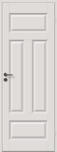 <b>Kompakt formpresset 4-speilsdør</b><br> med hvit karm
