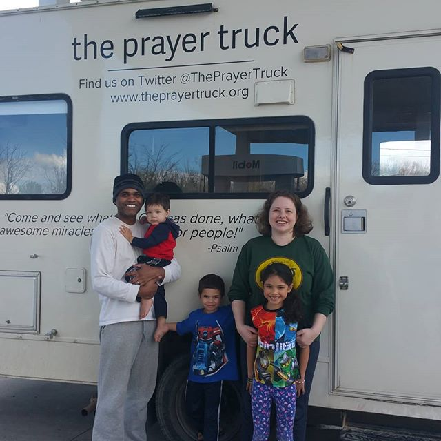 This precious family stopped to pray for us today while we were pulled aside needing some repair. Thank you Lord for the body of Christ!