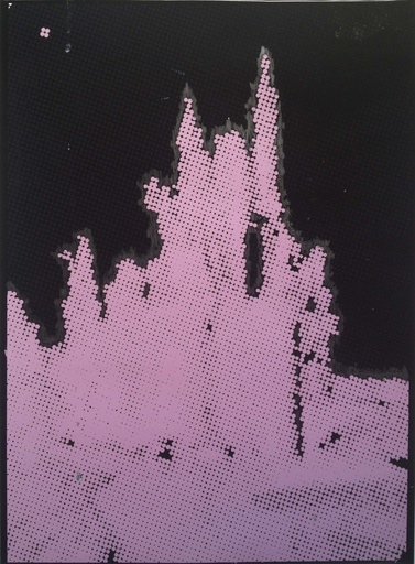 "Disney Castle (Tokyo), 2015 mixed media on paper, 30"" x 40"" inches"