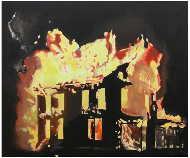 "House on Fire, 2016, oil on canvas, 60"" x 72"" inches"