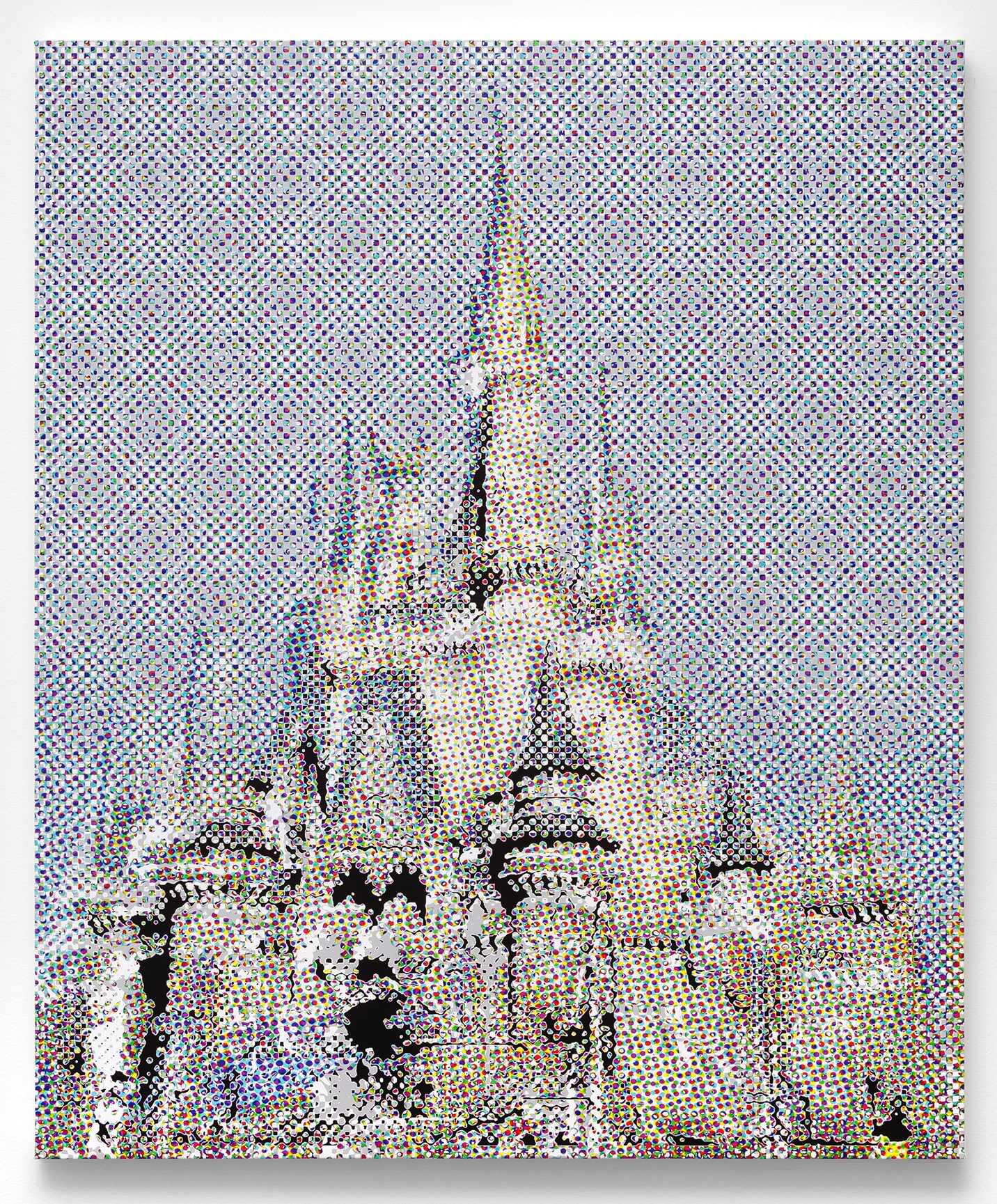 "Disney Castle (The Mirage), 2108, archival ink and acrylic on canvas, 41"" x 35"" inches"
