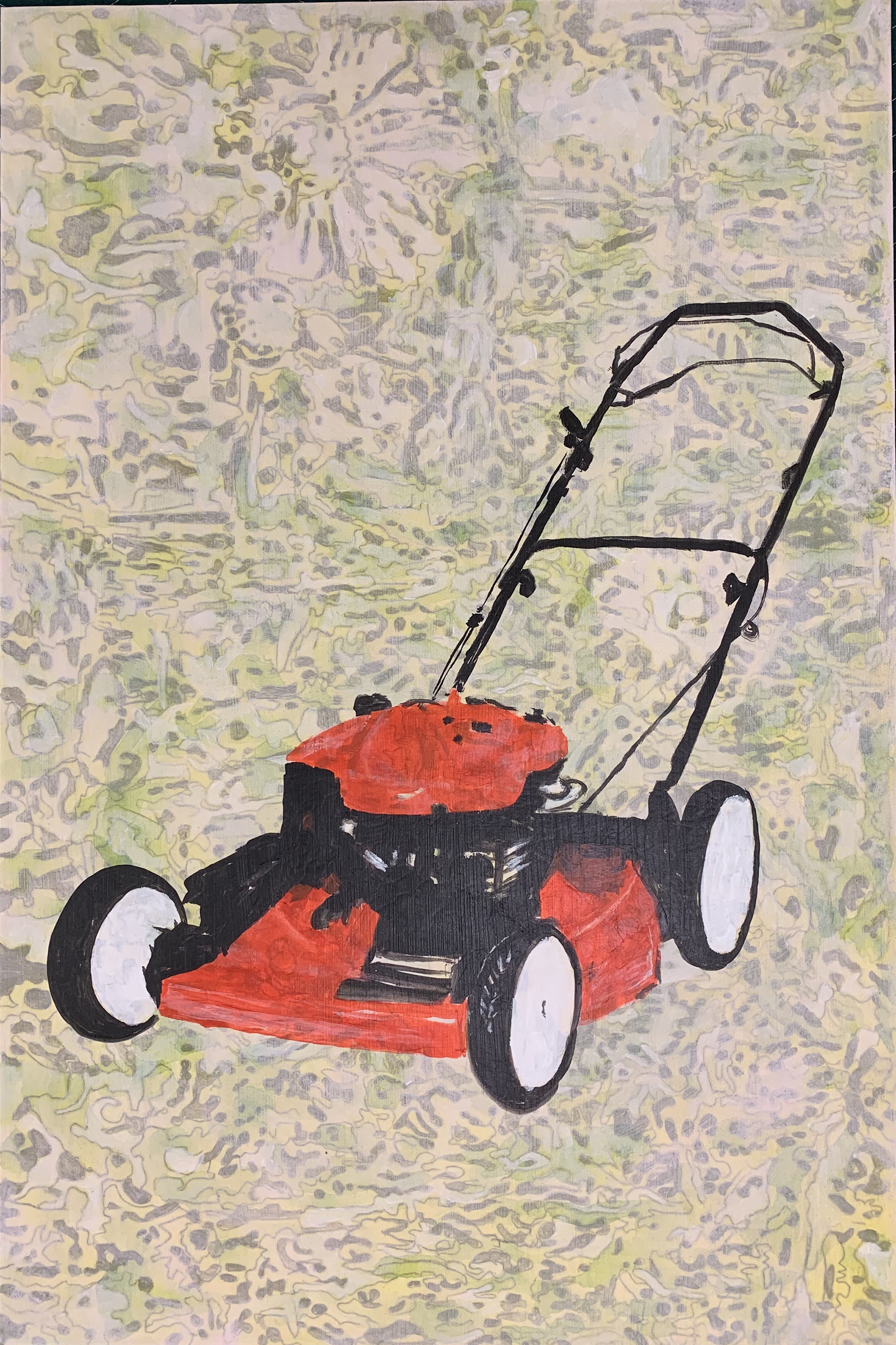 "Red Lawnmower and Wild Flowers, 2017, mixed media on paper mounted to aluminum panel, 36"" x 24"" inches"