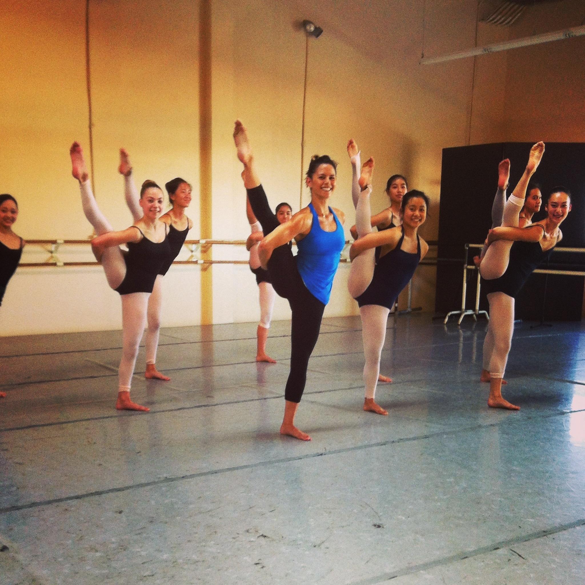 Teaching at her former ballet studio, Ayako's School of Ballet in Belmont