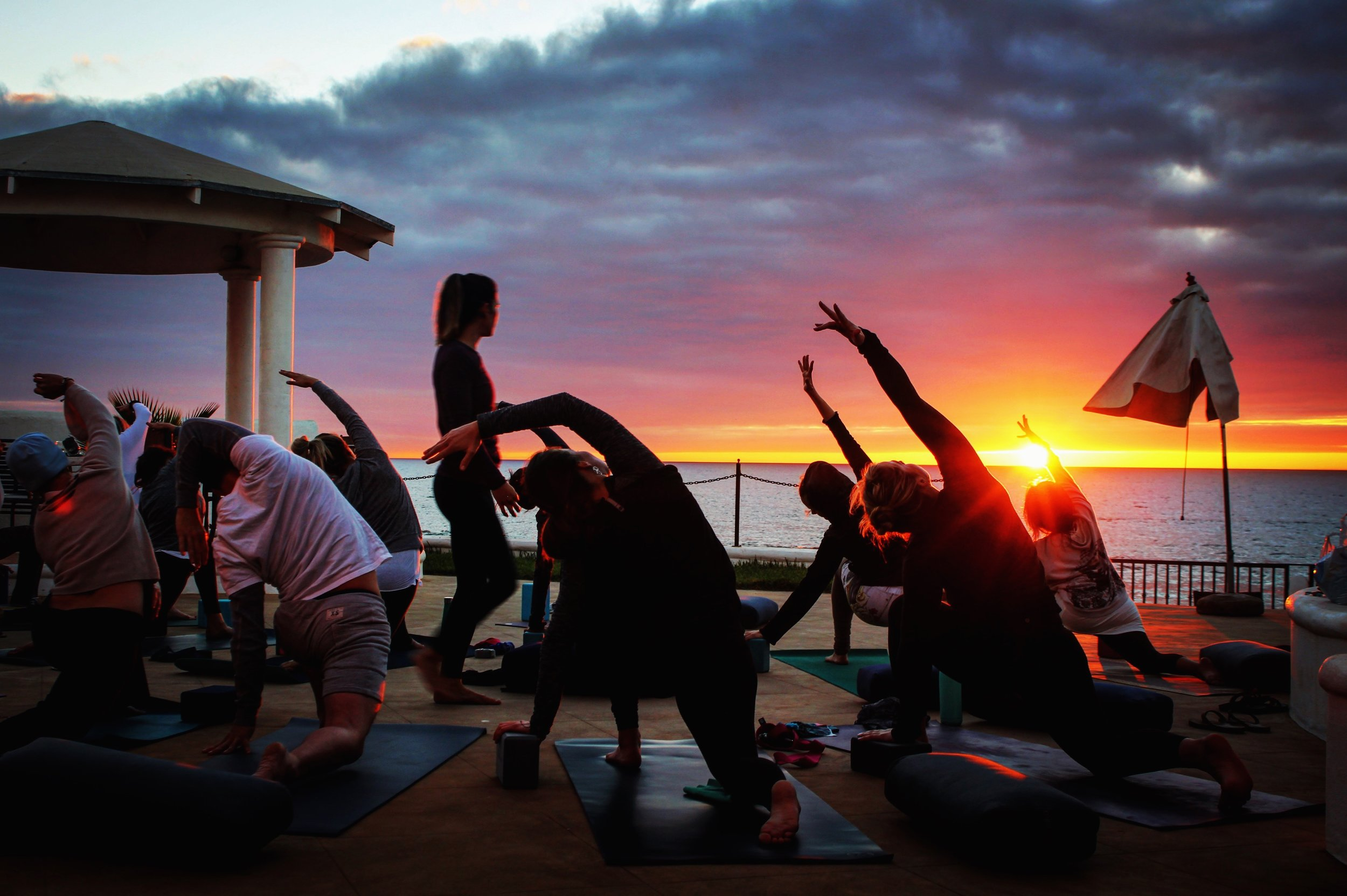 Watching the sunset during our first yoga practice at our home &studio in Baja, Mexico.