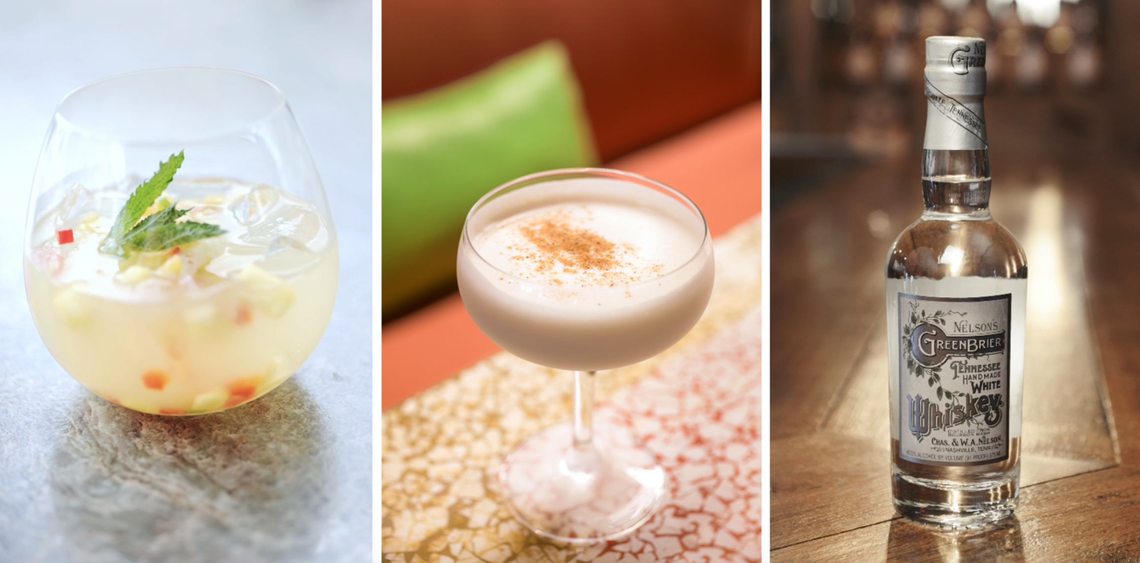 [Left to right: Rising Sun from Urban Heights; Caribbean Milk Punch from Brennan's; Tennessee White Whiskey by Nelson's Green Brier Distillery]