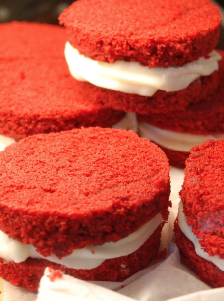 Red Cake-wiches  at Bayou Bakery