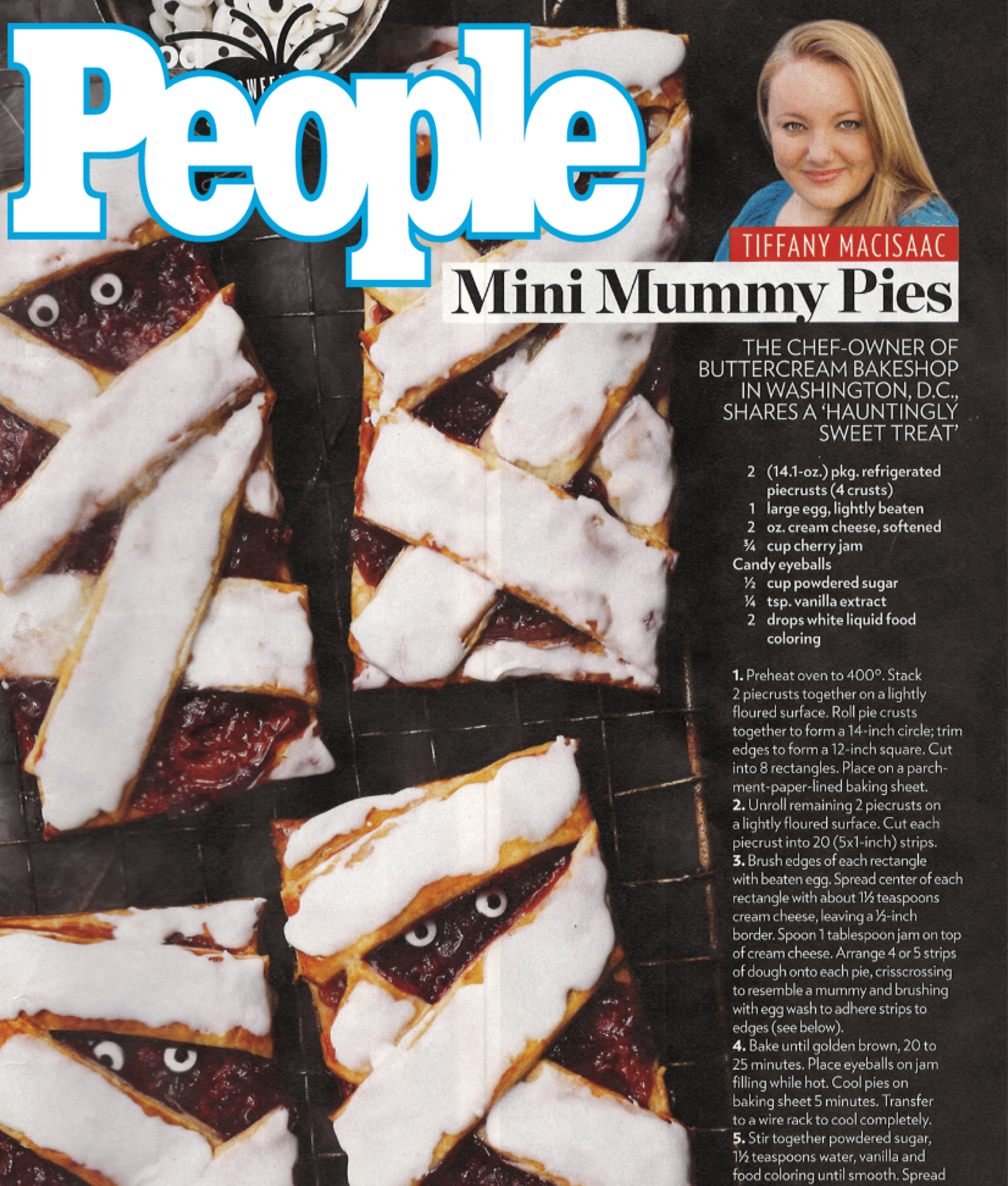 PEOPLE MAGAZINE:Tiffany Macisaac's Mini Mummy Pies - October 18, 2017