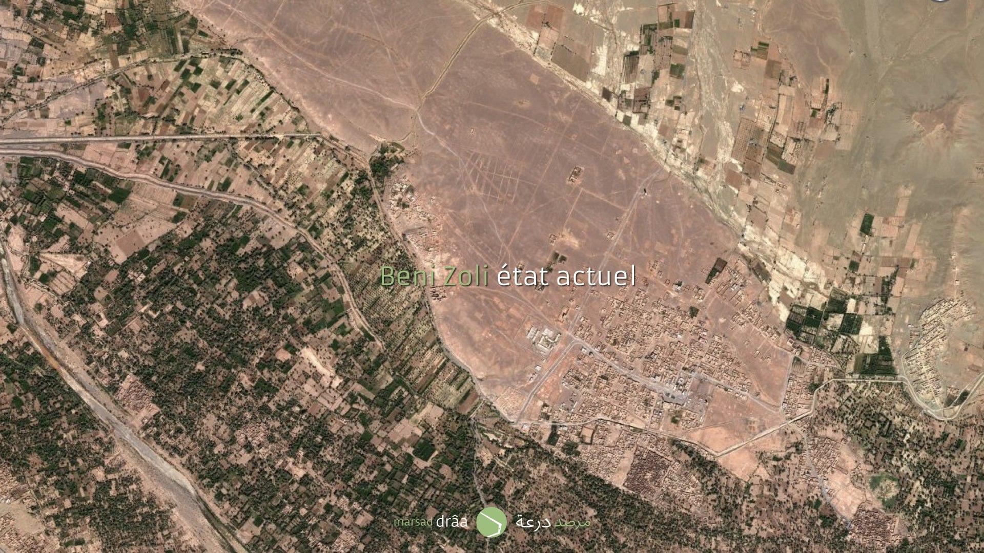 À Beni Zoli, à 17km de Zagora, il y a un village qui attend une augmentation de la population de 6.000 à 15.000 habitants dans les prochains 5ans. Un projet d'aménagement a été proposé sur le terrain occupé auparavant par la palmeraie.
