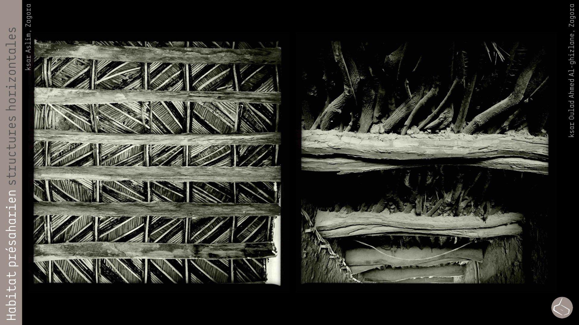 44. Il faut insister, ce n'est pas ni la terre ni le bois les responsables des principales pathologies constructives, mais l'eau. Bien si l'emploi du bois de palmier implique des contraintes spatiales (puisque la portée des poutres se limite à 2,5-3,00m), les pièces restent très petites et pas trop pratiques. Néanmoins, il n'y a que le bois de palmier, il y a des régions ou des oasis comme M'hamid, où les gens construisent avec le bois de tamarix qui est plus résistant.       44. We have to say that it is not the earth or wood the main constructive pathologies, but water. Even if the use of palm wood involves spatial restrictions (the beam spans are limited to 2,5-3,00m), the rooms are very small and comfortless. Nevertheless, it is not just the palm wood people use, there are regions, as M'hamid oasis, where people built with the wood of tamarisk that is more resistant.