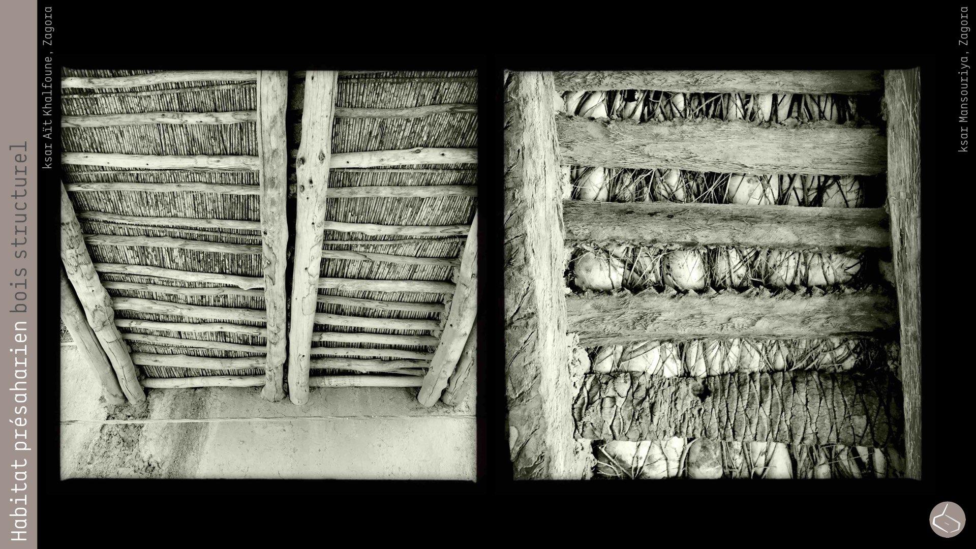 68. Le bois de palmier ne reste pas le seul dans la construction actuelle, d'autres comme l'eucalyptus et le peuplier permettent une plus grande longueur et pourtant des pièces plus larges.       68. The palm wood is not the only used in the current building, others such as eucalyptus and populus allow greater length and larger rooms.