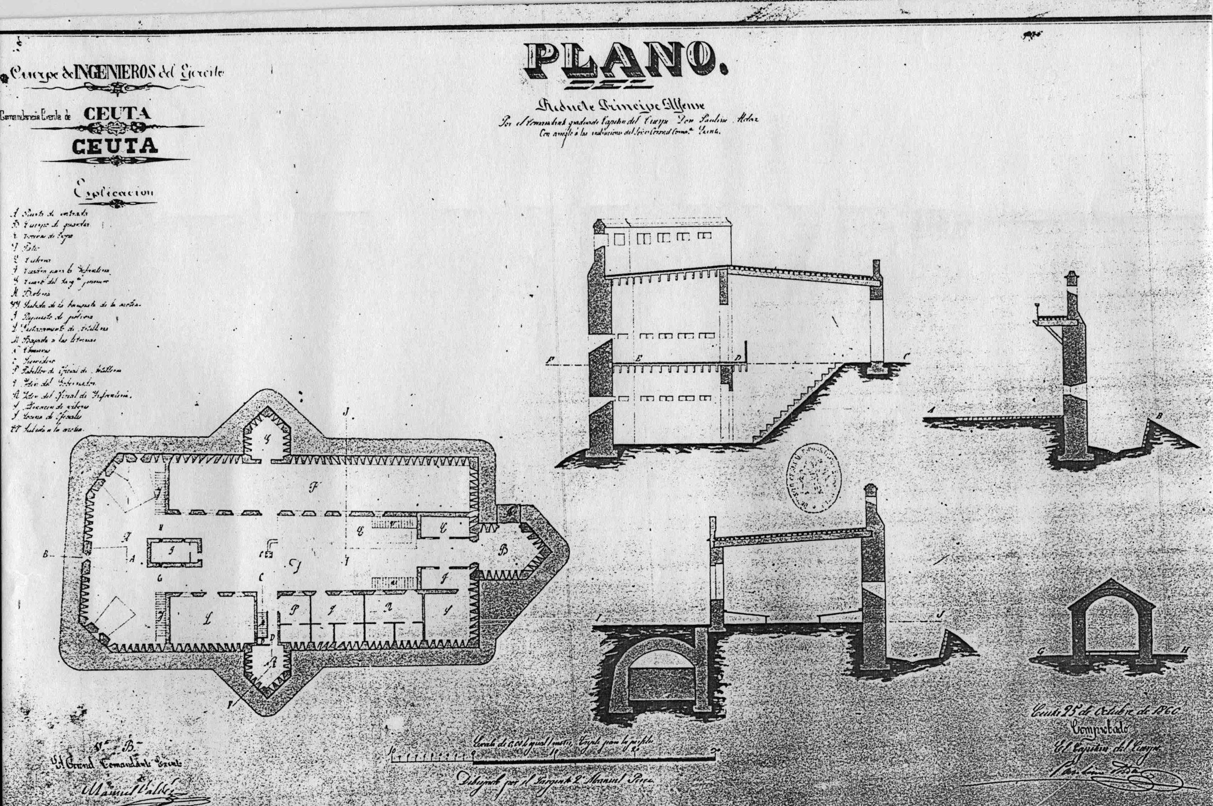 Figura 6: plano del fuerte Príncipe Alfonso por don Paulino Aldaz, 1860