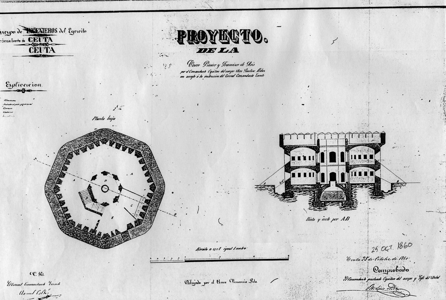figura 14: proyecto de Piniers, Francisco de Asís y Anghera por Paulino Aldaz, 1860