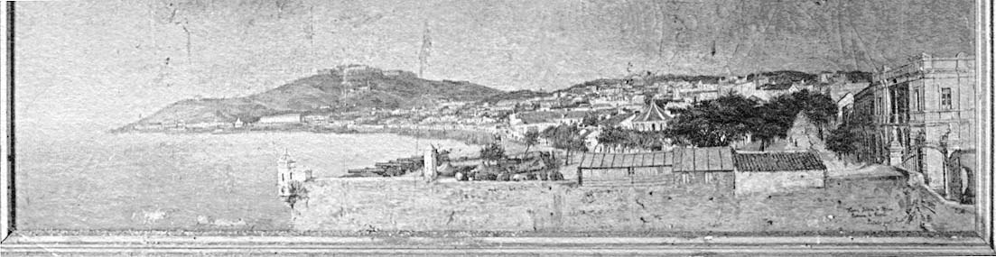 La ciudad con el baluarte de San Sebastián en primer término y el puente y rastrillo de la Almina en 1887, según un cuadro al óleo de Ricardo Escribano.