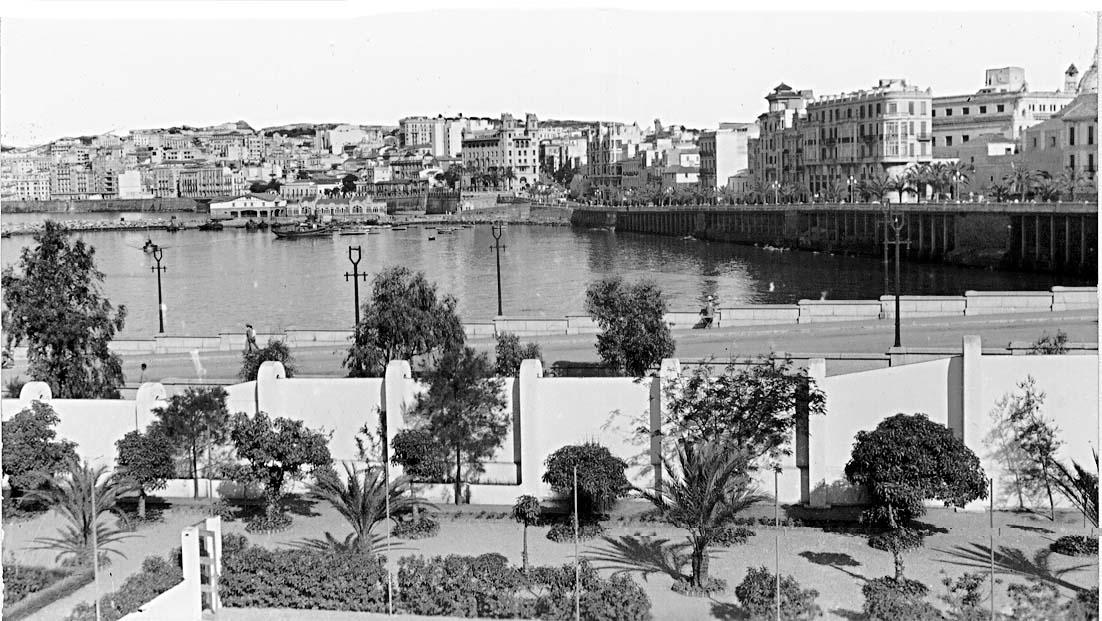 Vista de la ciudad con el paseo de las Palmeras en primer plano, dejando ver la muralla y los voladizos, con el mar a su pie. Foto Rubio.