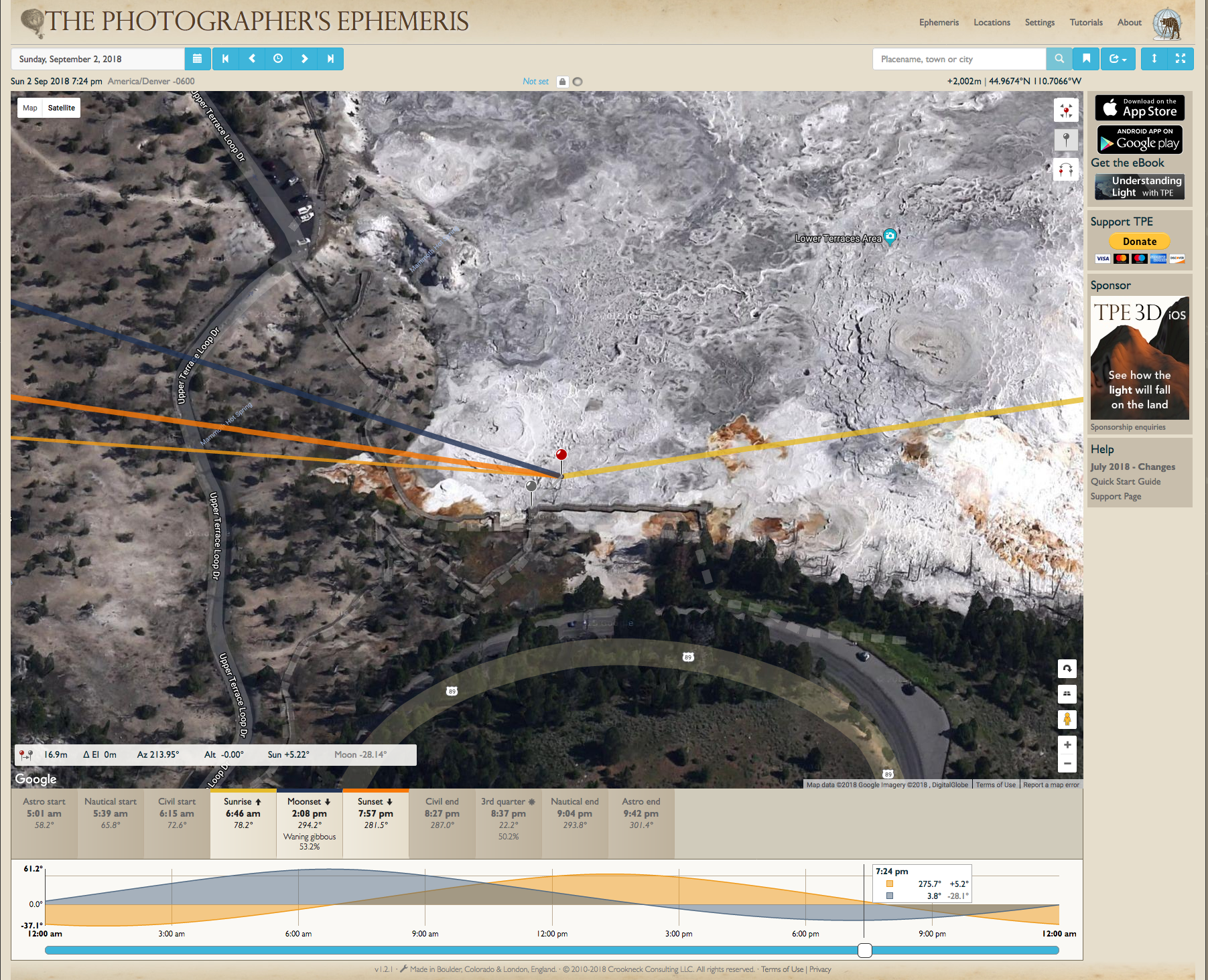 Mammoth Hot Springs, Lower Terraces, The Photographer's Ephemeris