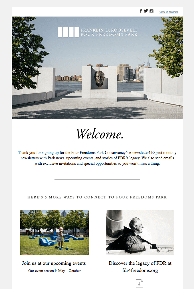 Welcome Email Example - Four Freedoms Park.png