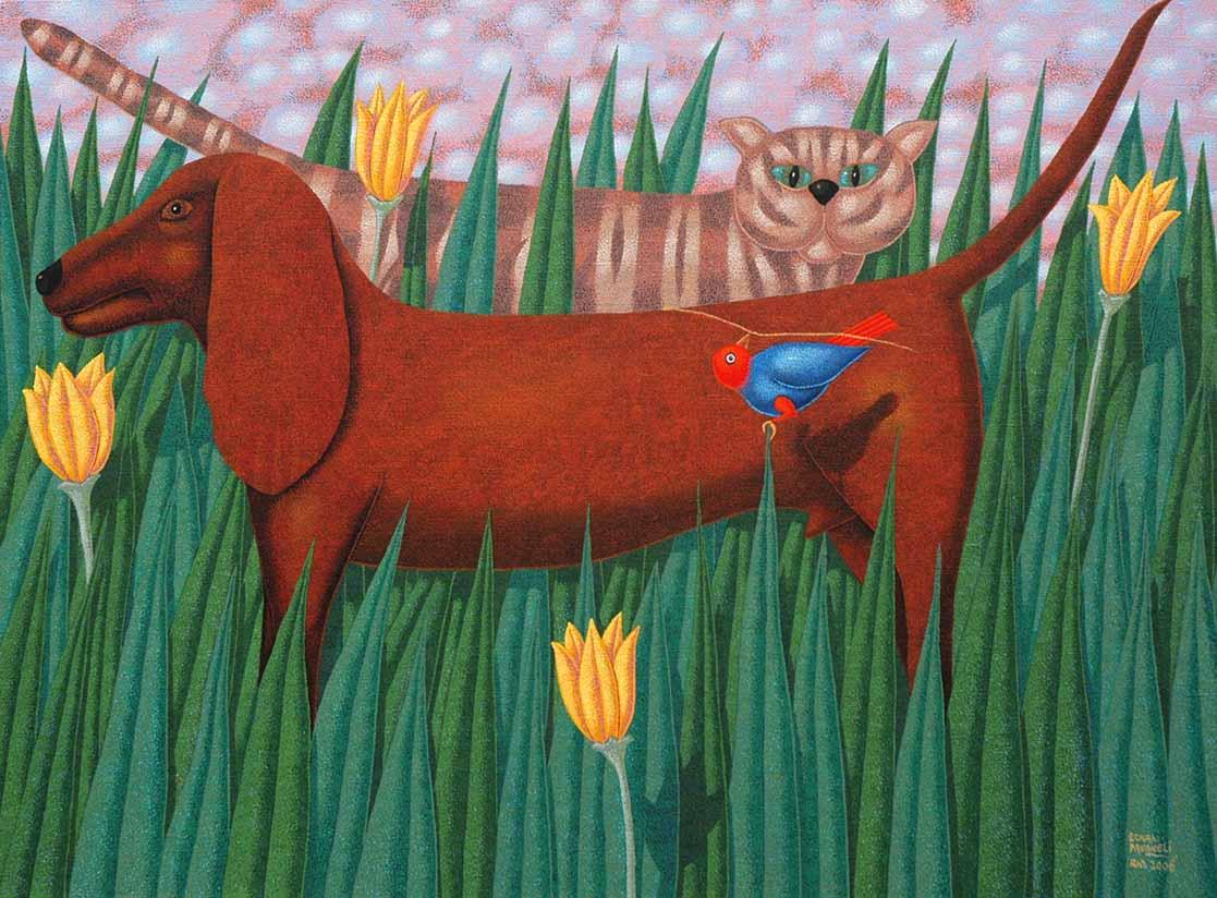 Ernani Pavaneli, Cão gato e companhia, 2016, pintura
