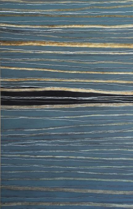 Sandra Felzen,    SENdo TErra, QUErer SER ÁguaIII,   2015, técnica mista sobre tela, 152 x 98 cm