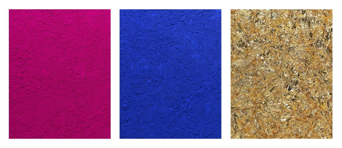 Vik Muniz, pictures of pigment, monochrome, pink-blue-gold, after yves klein, 2016,c-print digital, 230 x 540 cm