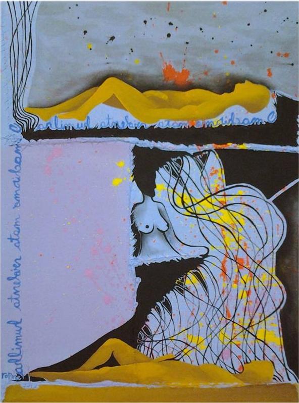 Ropre, Rede/Prisão, 2017, pintura acrílica s algodão cru costurado s chapa MDF0,6,46x34 cm
