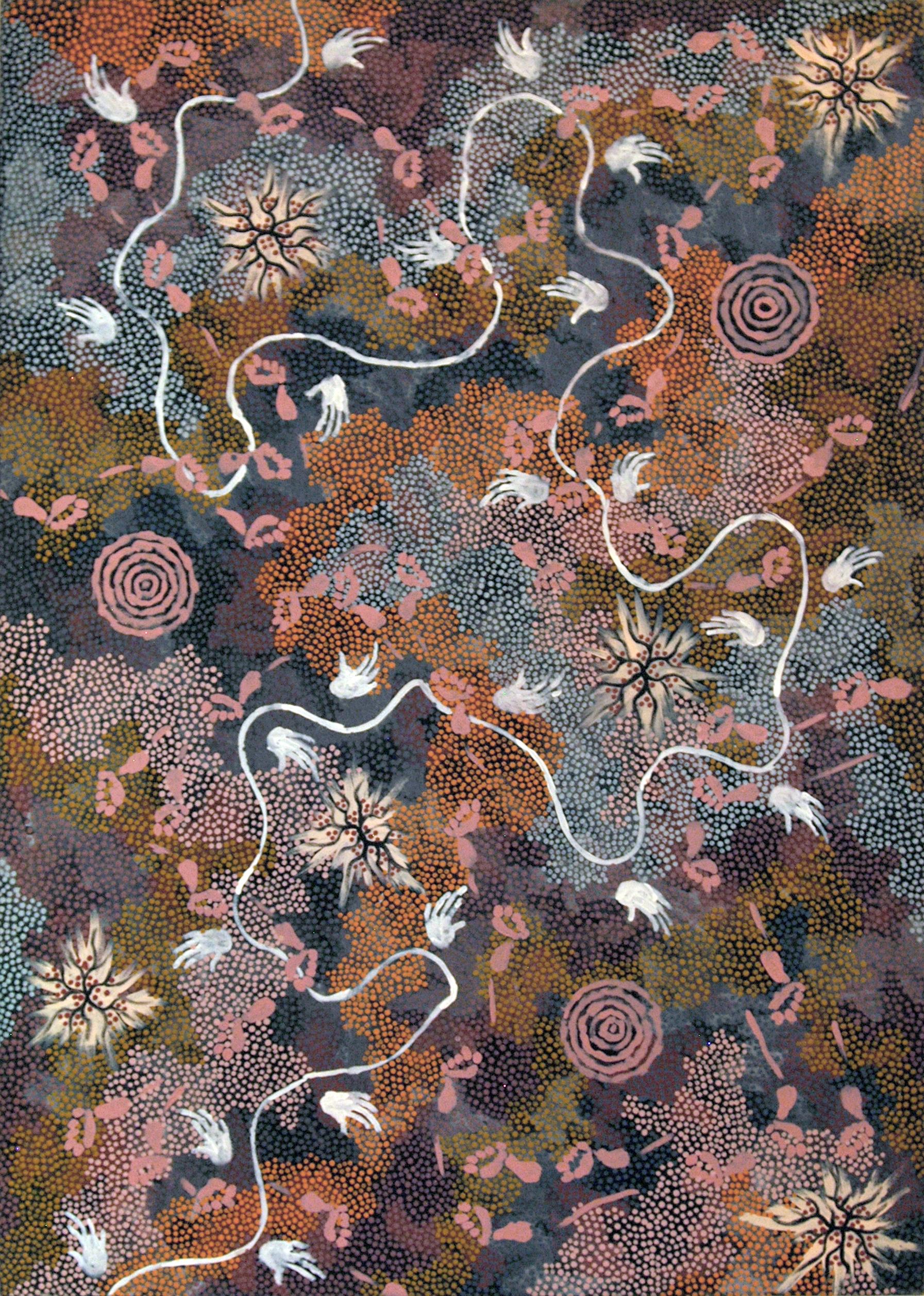 """Clifford Possum Tjapaltjarri (1933-2002),""""O Sonhar do Cachorro Selvagem na Estação Napperby"""", mais conhecido como """"O sonhar de Possum"""", 1993, tinta acrílica sobre linho belga"""
