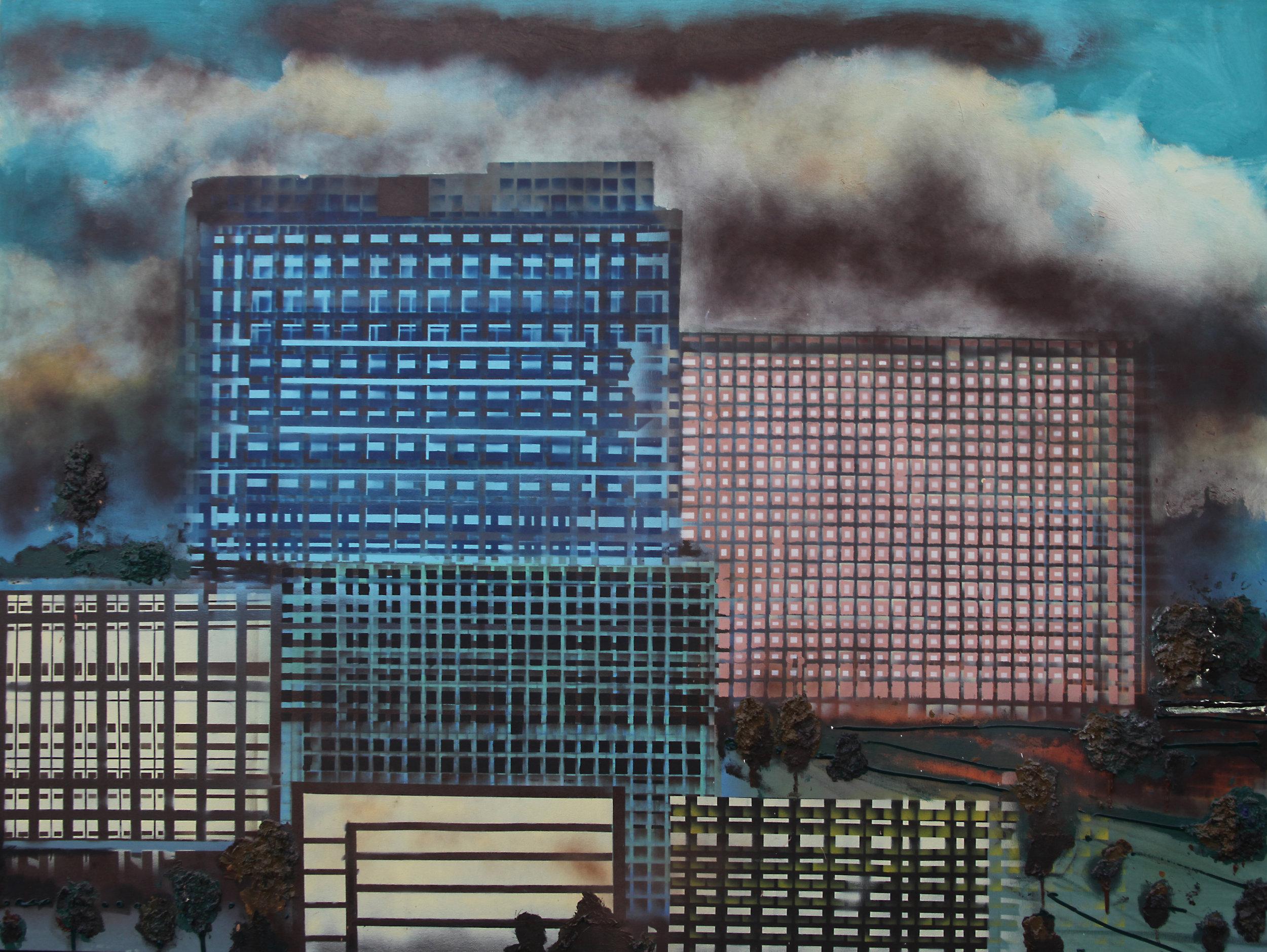 Gilvan Nunes, Condomínios, óleo sobre tela, 150 x 200 cm                         Foto: Alexandre Campbell
