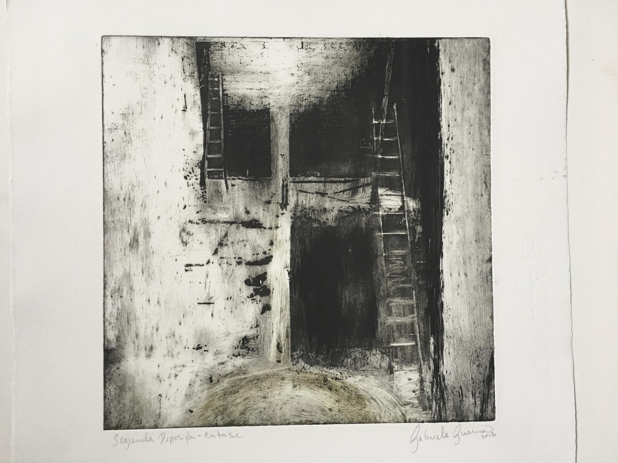 Gabriela Gusmão, Êxtase, 2012, série Segunda Deposição, monotipia, 36 x 32 cm