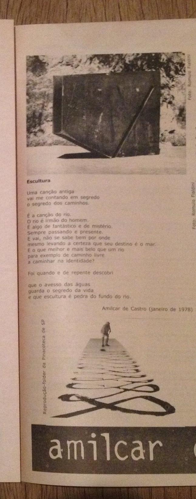 Recorte com poema do artista, página 9 do Atelier 61 que publicou entrevista com Amilcar de Castro