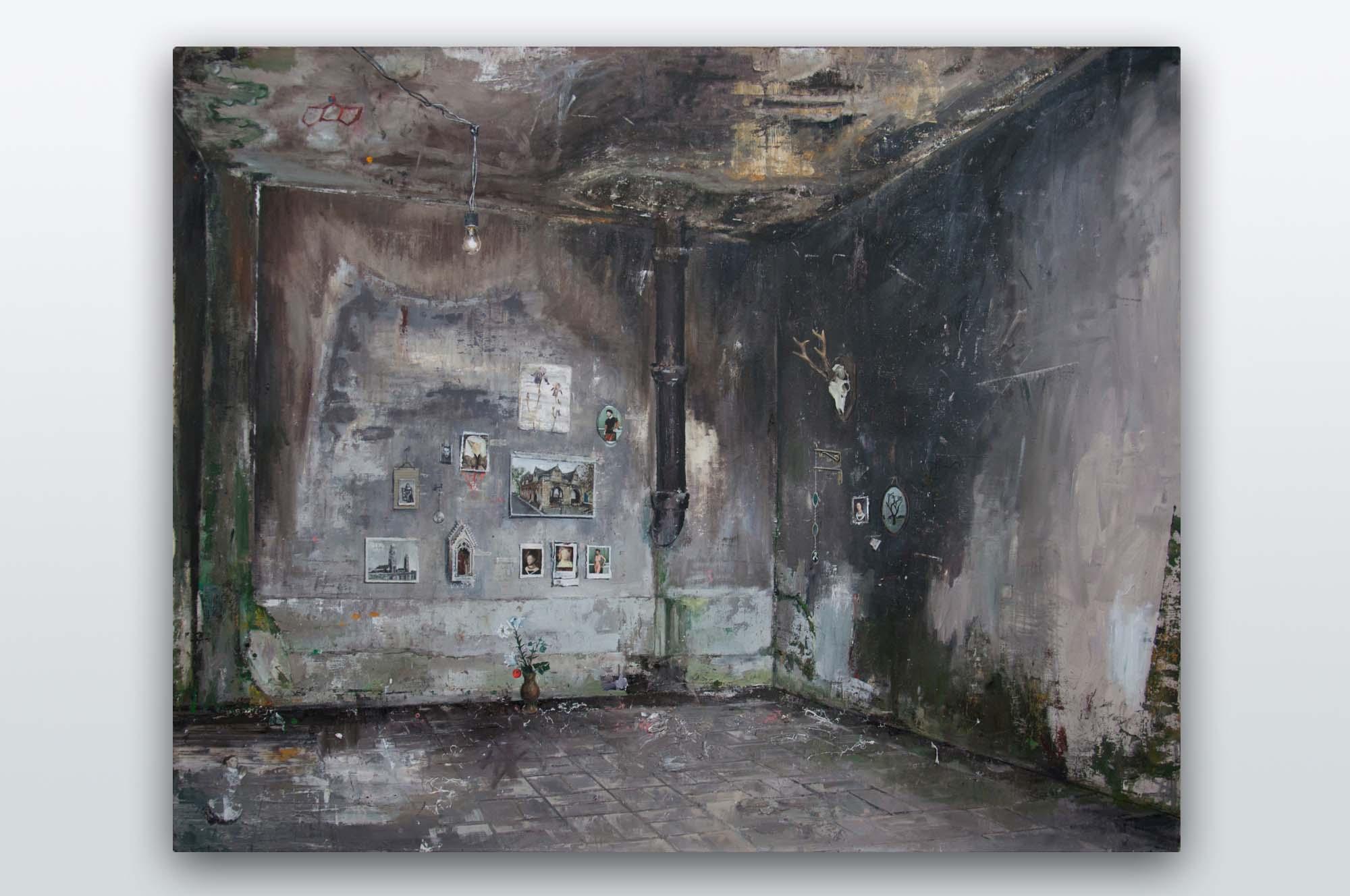 André Griffo, Teorias em espaço transitório, 2016, óleo sobre tela