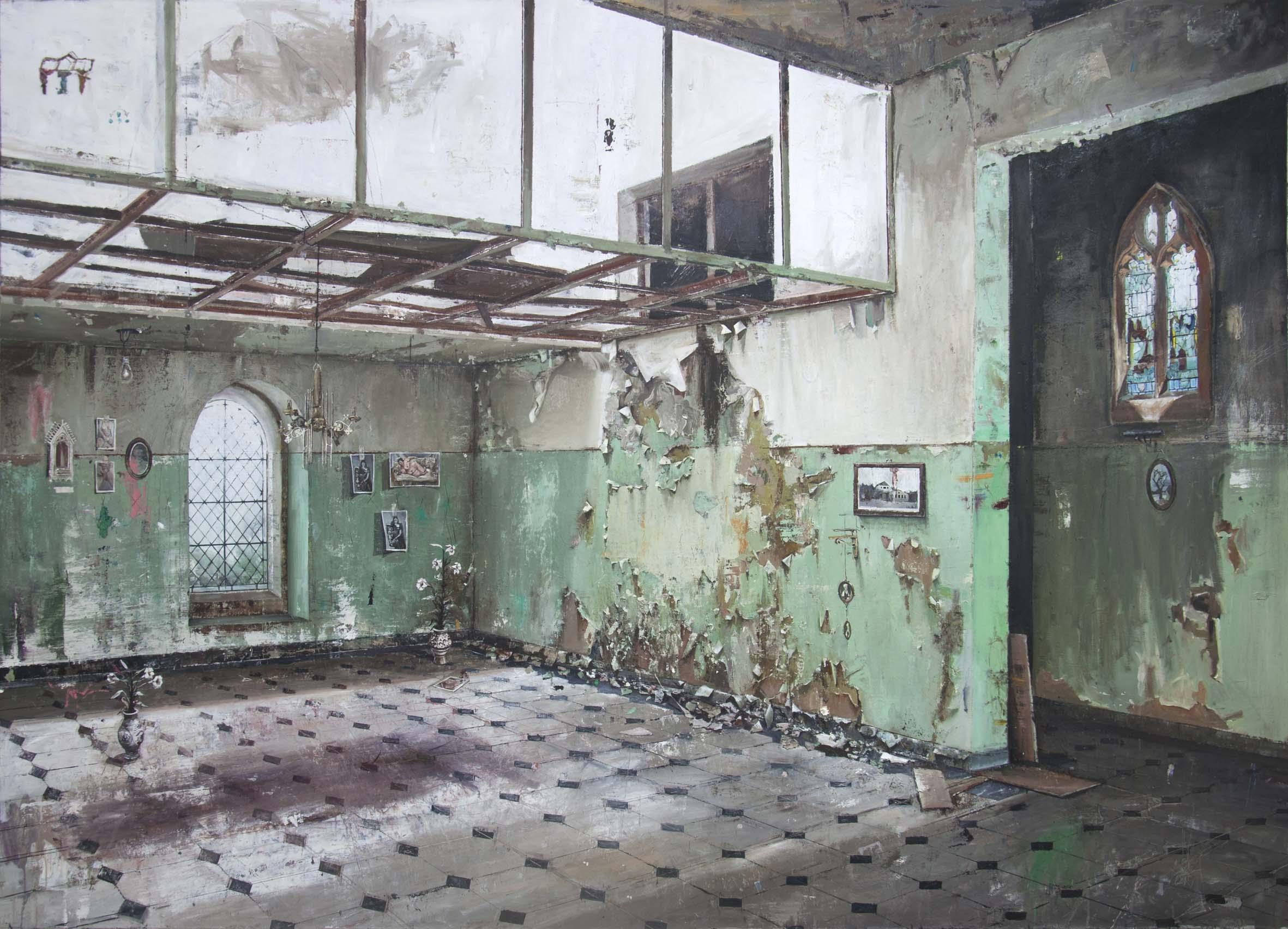 """André Griffo, """"Impressões sobre arquitetura fria"""", 2017, óleo sobre tela, 194 x 268,5 cm"""