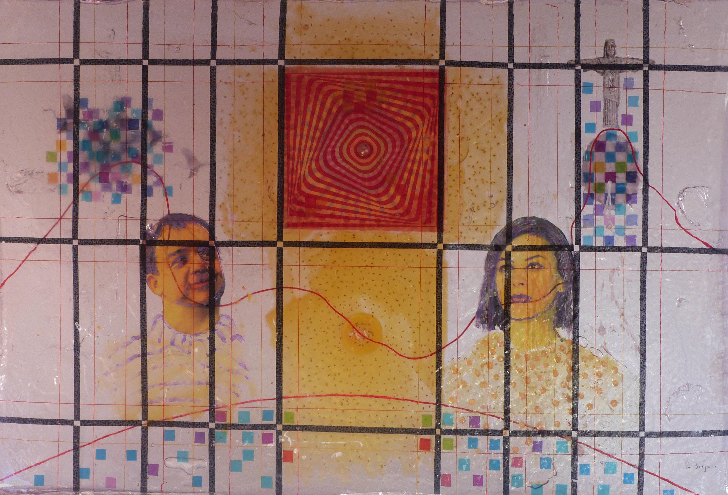 """A crítica de Fábio Borges em """"Rio ao ver o sol nascer quadrado"""", pintura, arte digital e objetos encapsulados em bloco de resina,90 x 60 cm,2018"""