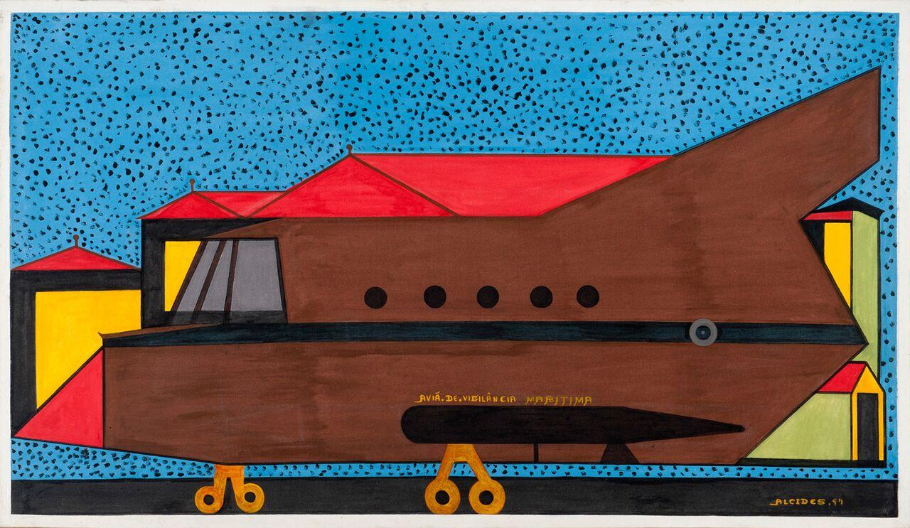 Alcides Pereira dos Santos, Avião de Vigilância Marítima, 1997, acrílica sobre tela, 86x148 cm