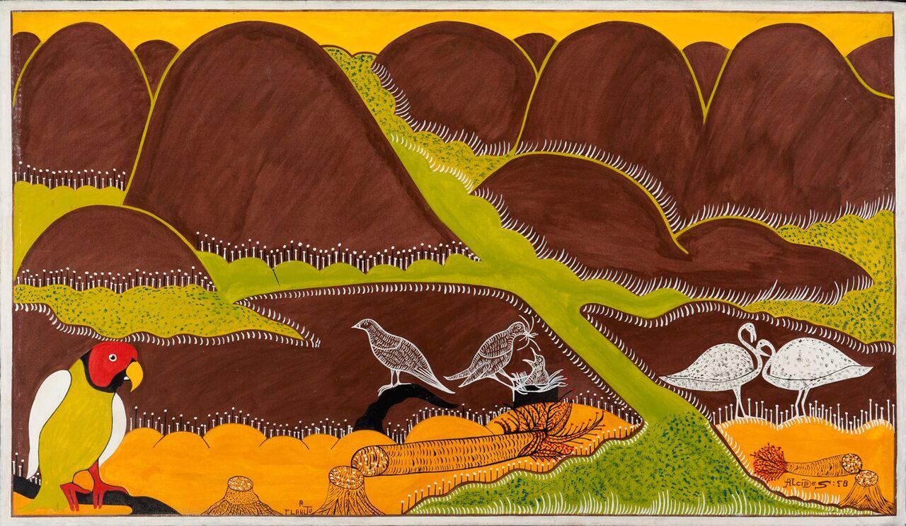 Alcides Pereira dos Santos, A plantação, 1998 , Acrílica sobre tela, 88 x 150 cm