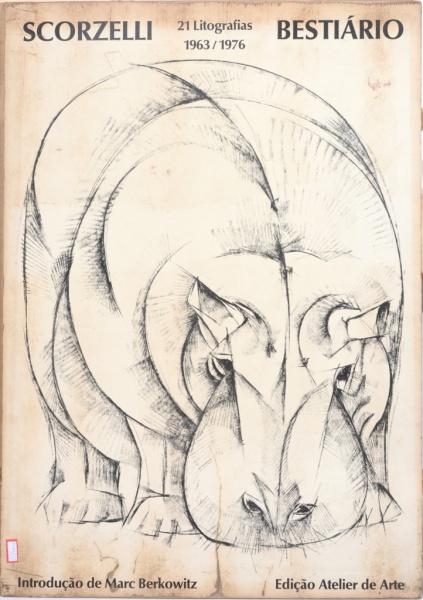 """Capa original da edição de """"Bestiário"""" - reunião de litografias de animais"""