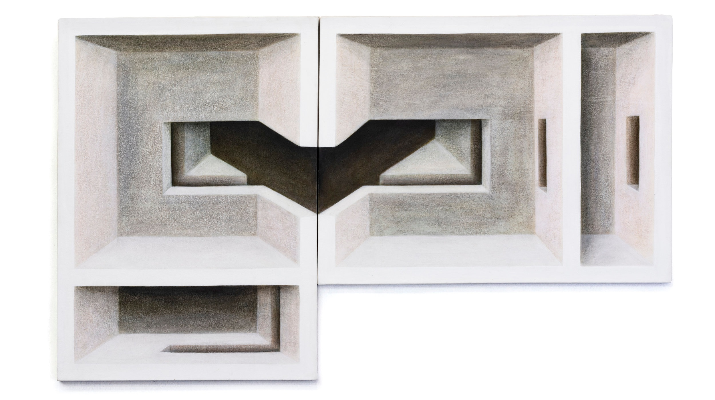 Adriana Maciel, Sem título, díptico, 2010-2011, acrílica sobre tela, 1 x (100 x 76 cm) , 1 x (78x103 cm)