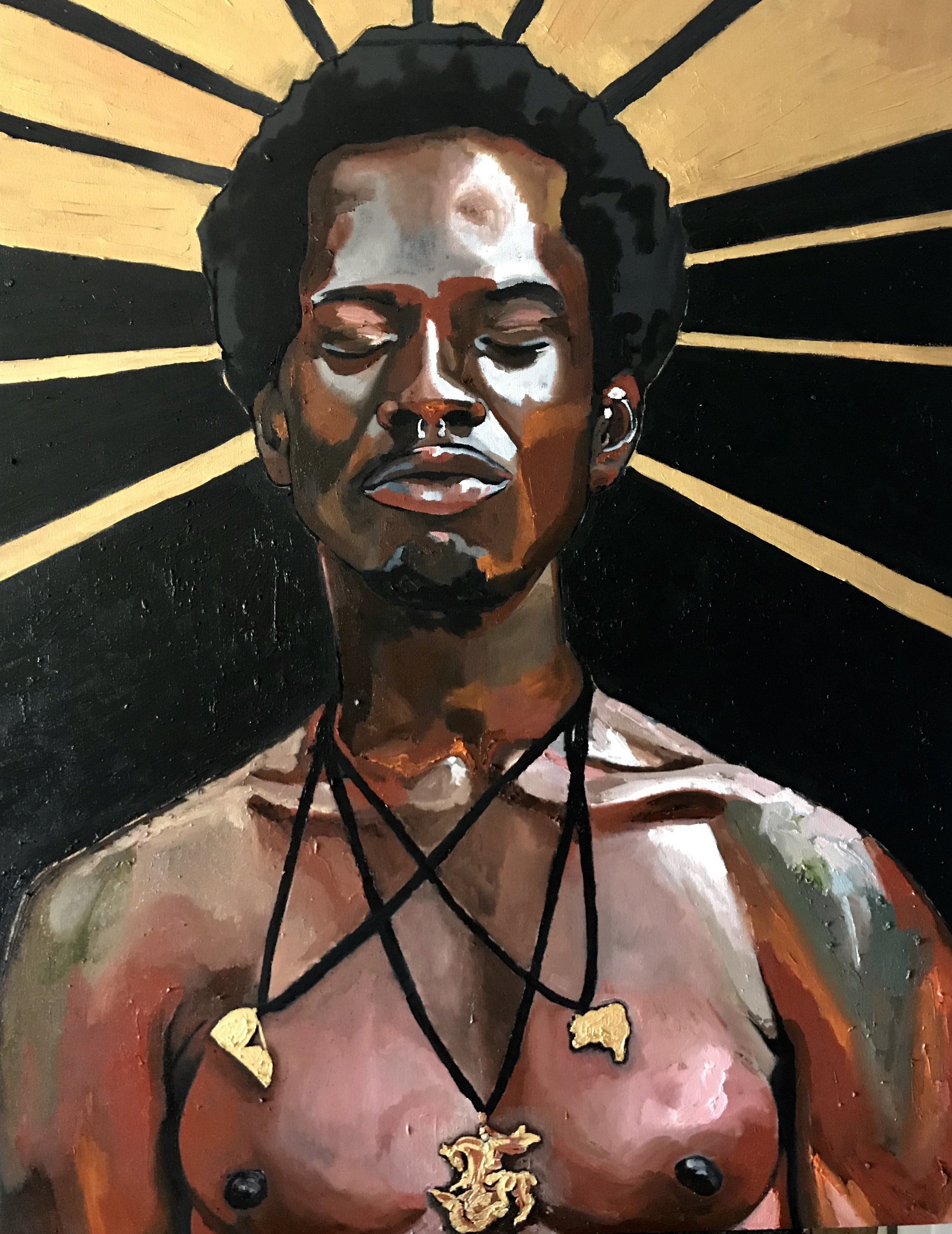 Georgia Lobo, Santo, 2018, óleo sobre tela, 1,20 x 0,90