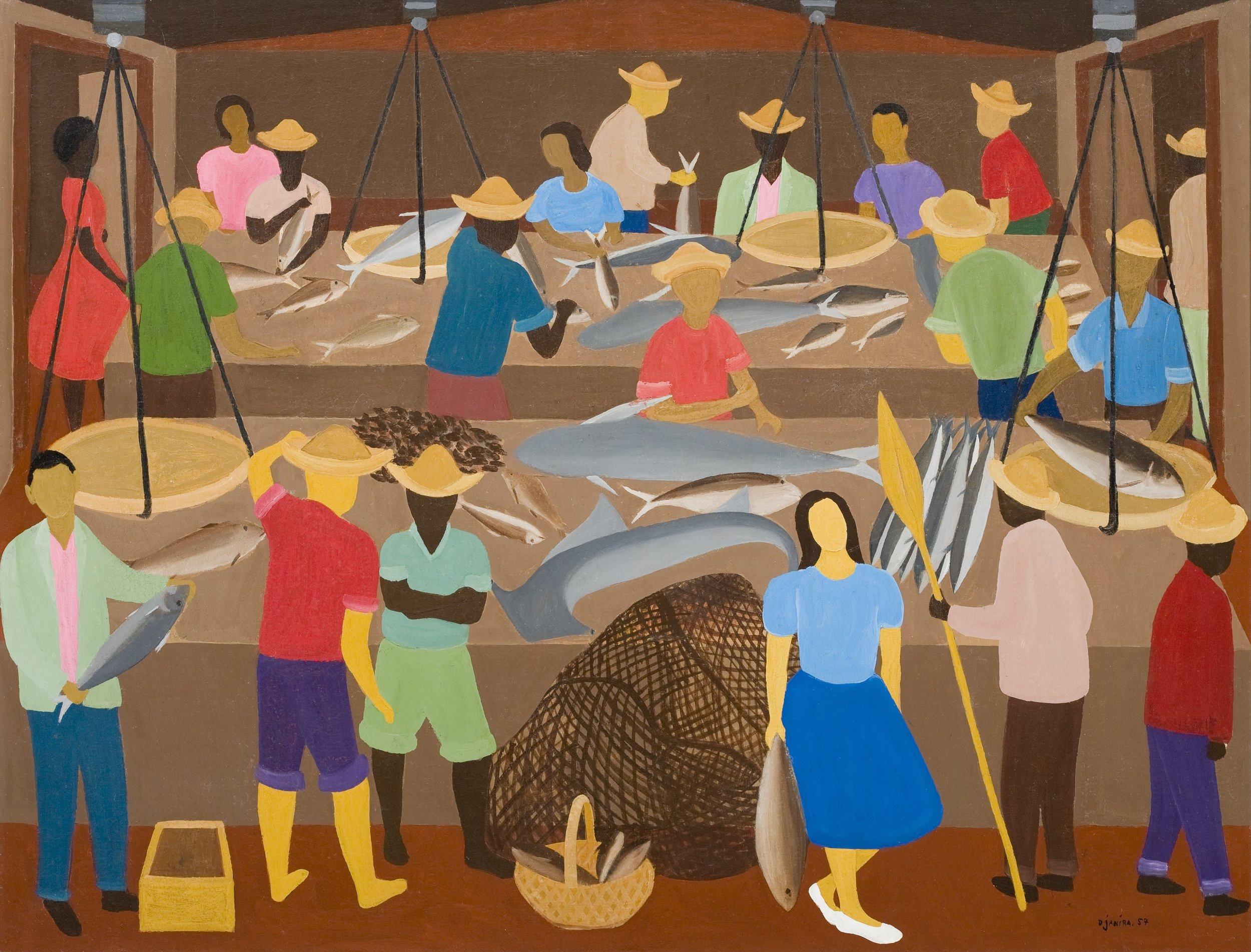 Djanira, Mercado de Peixe, 1957, óleo sobre tela, 90 x 116,5 cm / Foto: João L. Musa