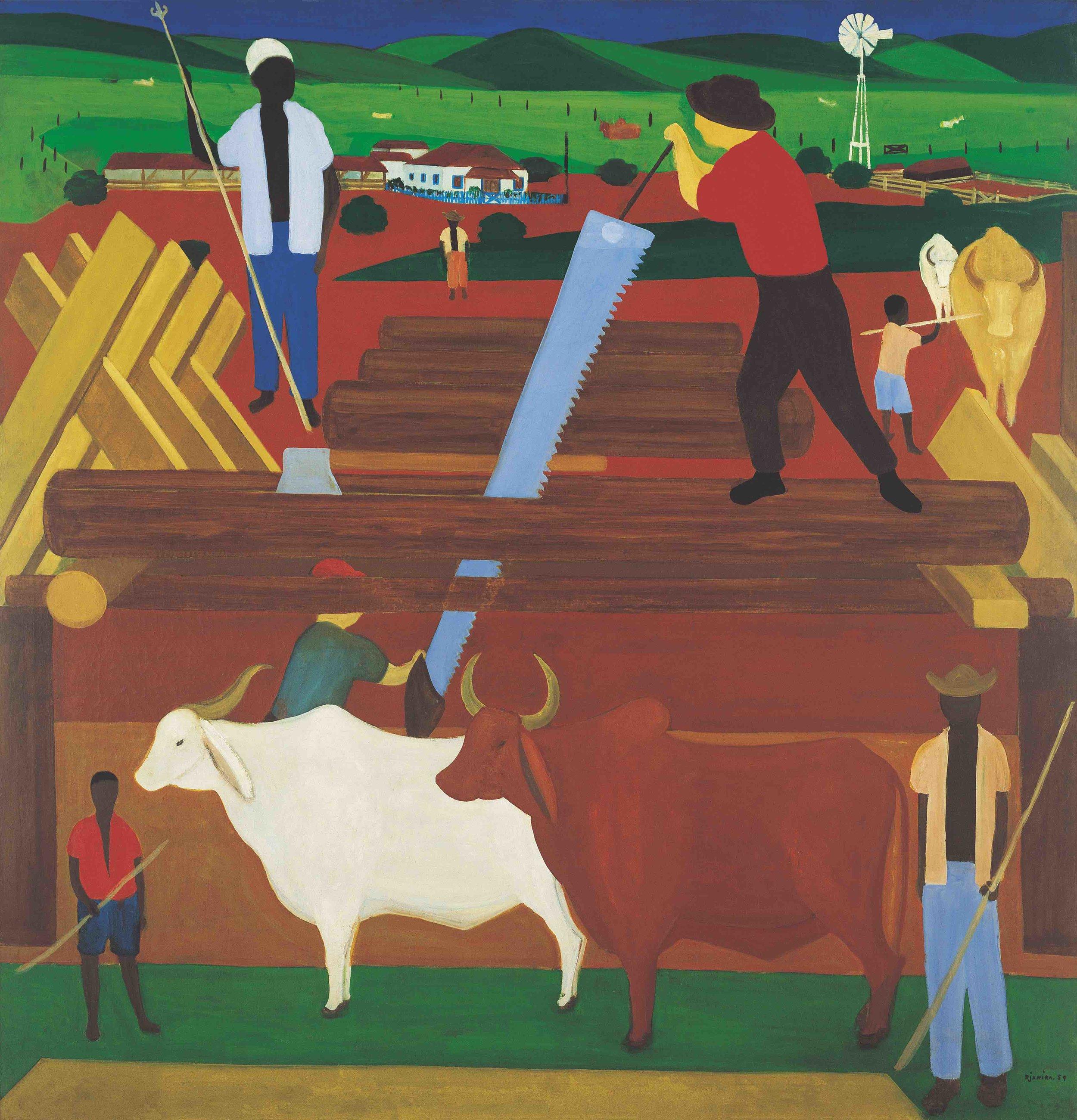 Djanira, Serradores, 1959, óleo sobre tela, 136 x 131 cm/ Foto: Pedro Oswaldo Cruz